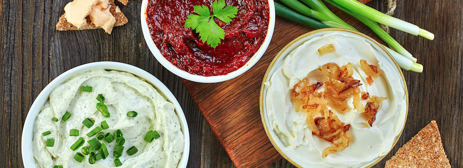 picture of three dips and chips on wood background