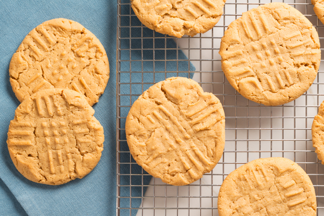 peanut butter cookies on baking rack