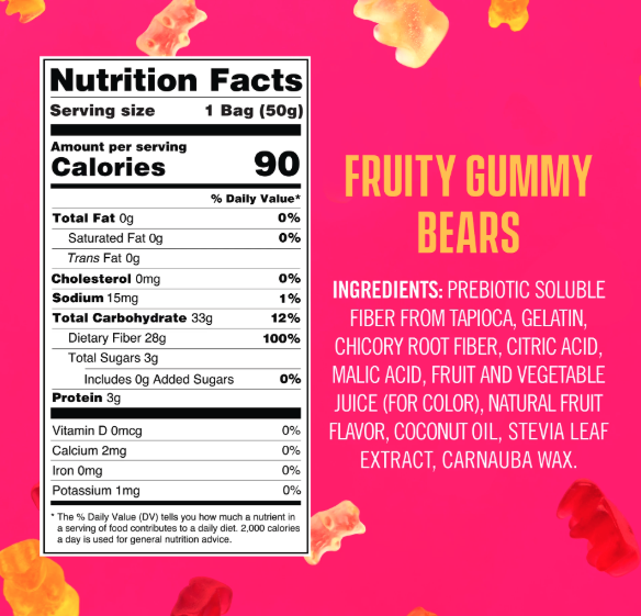 Smart Sweets Gummies Nutrition Label