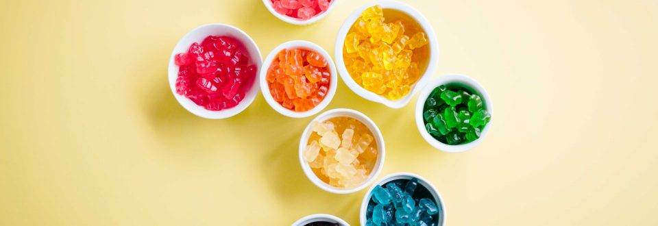 bowls of colorful gummy bears