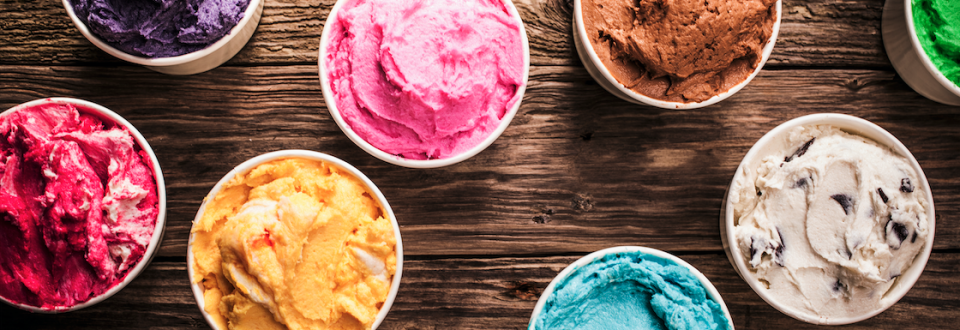 cups of colorful ice cream