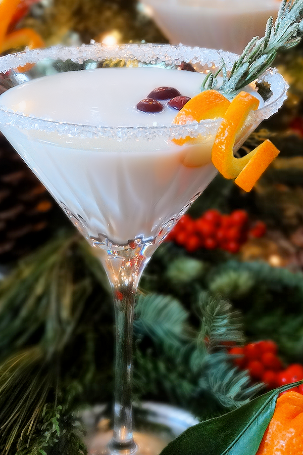 white christmas martini cocktail
