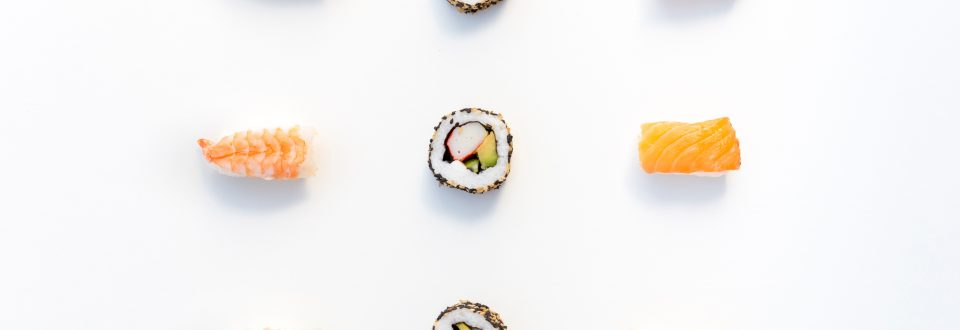 sushi on a white background