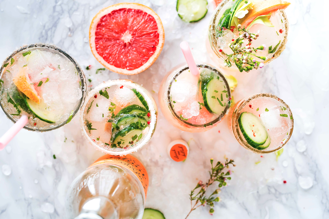 aerial view of pretty cocktails