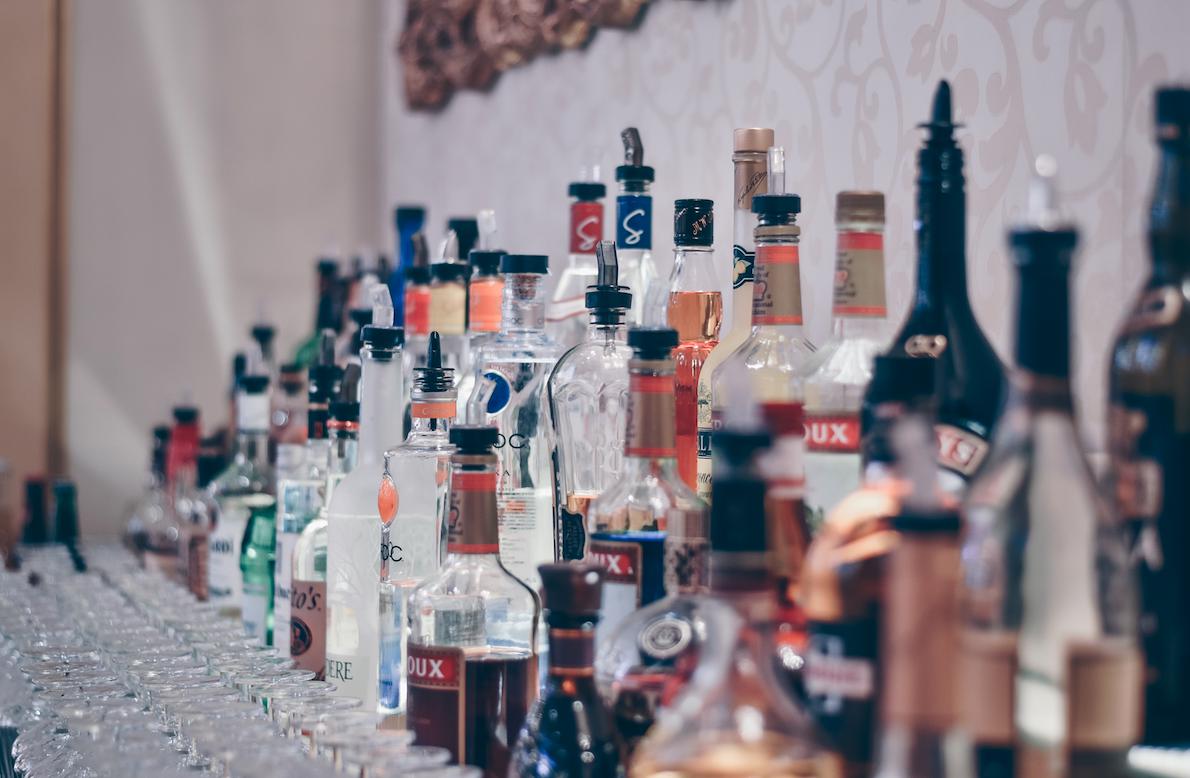 lots of glass liquor bottles