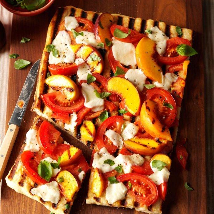 grilled tomato peach pizza