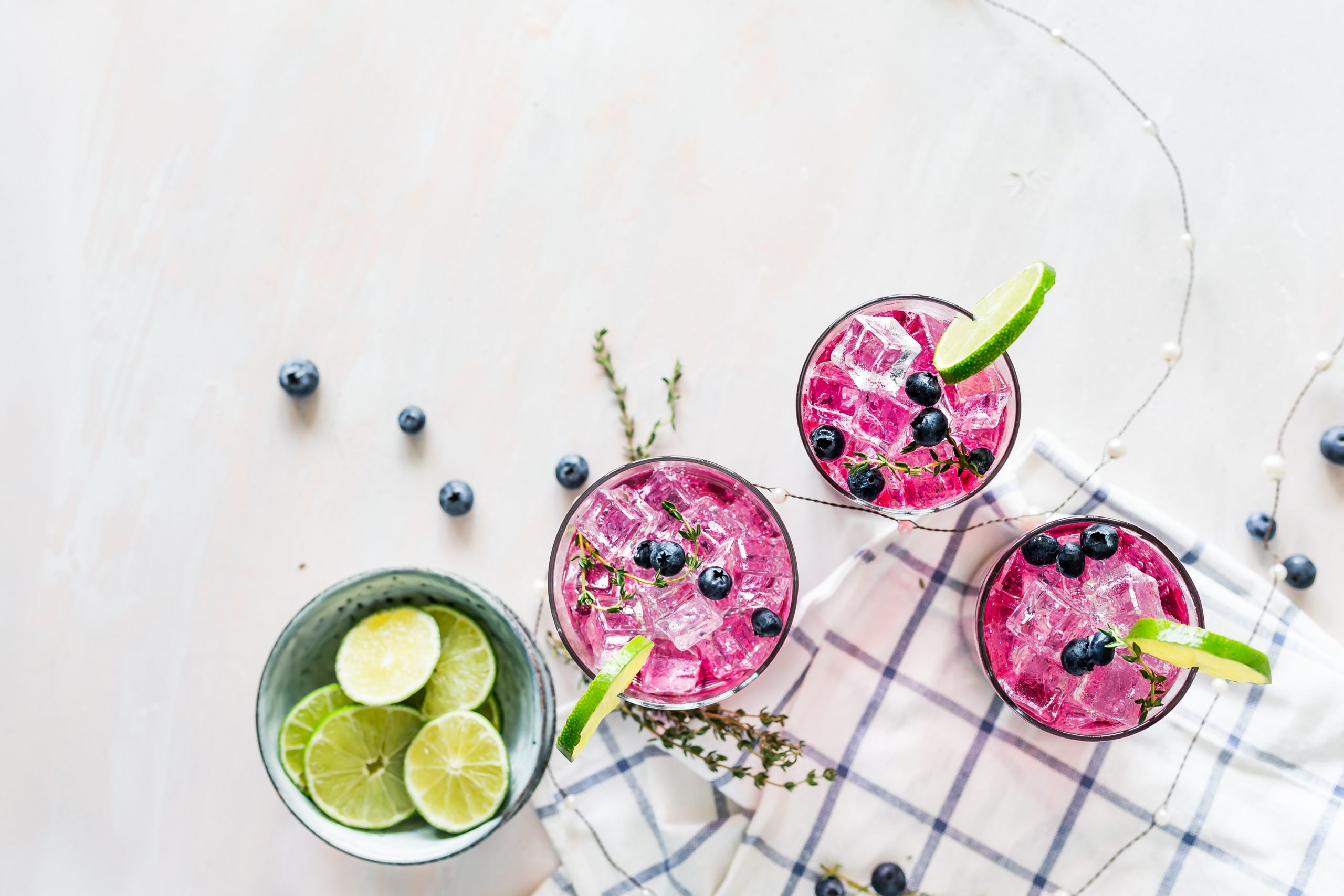 blueberry cocktail with garnish