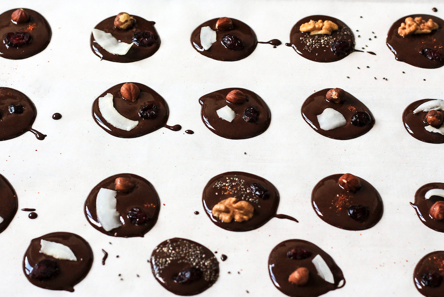 melted chocolate clusters
