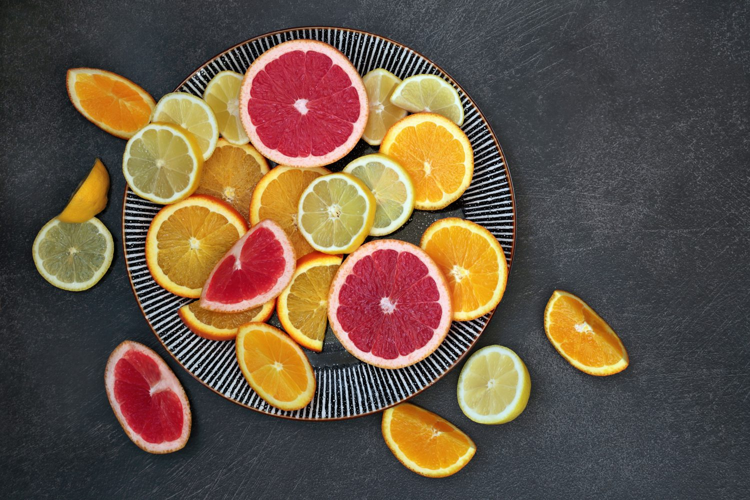 Citrus laying on a plate